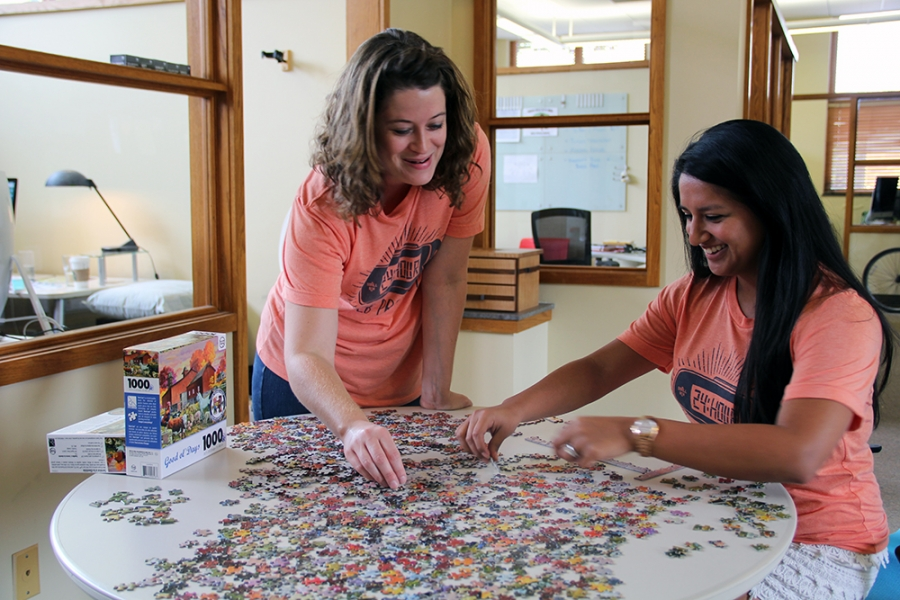 Abby and Teresa take a puzzle break