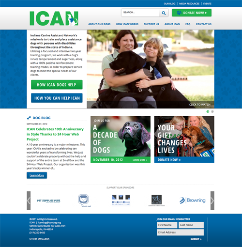 ICAN site after 24 Hour Web Project by SmallBox